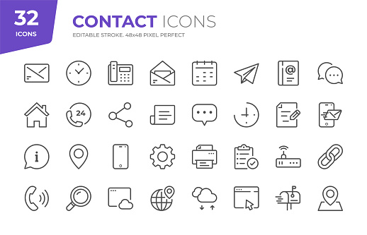 32 Contact Outline Icons - Adjust stroke weight - Easy to edit and customize