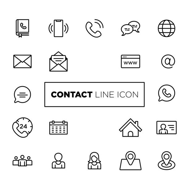Contact Line Icons. For Mobile and Web. vector art illustration