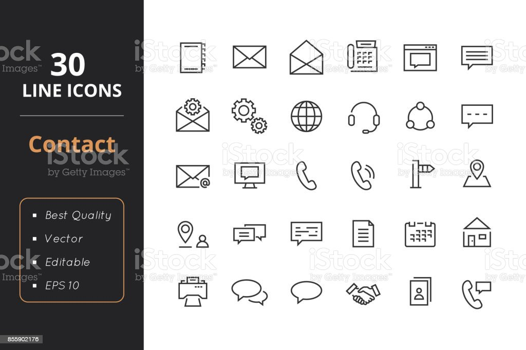 30 Contact Line Icons vector art illustration