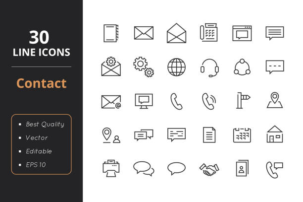 30 contact line icons - social stock illustrations, clip art, cartoons, & icons