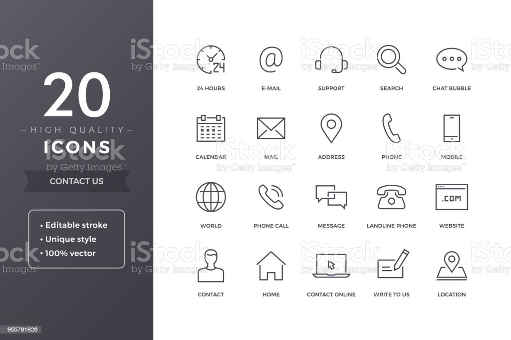 Contact Line Icons royalty-free contact line icons stock illustration - download image now