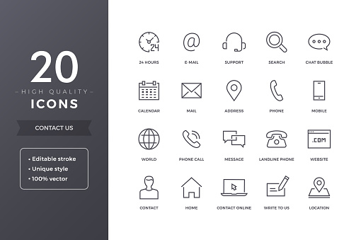 Contact Line Icons clipart