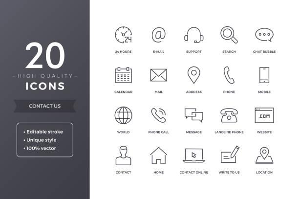 ikony linii kontaktu - chudy stock illustrations