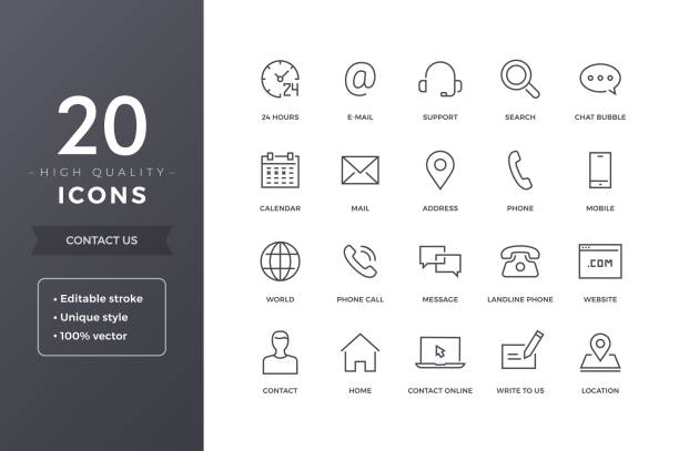 contact line icons - icons stock illustrations