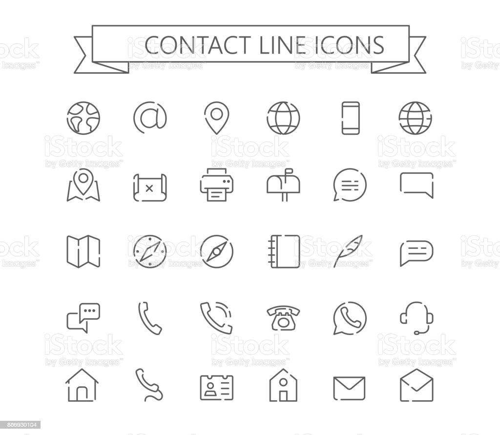 Contacter les mini icônes ligne. grille de 24 x 24.  Ligne pointillée - Illustration vectorielle