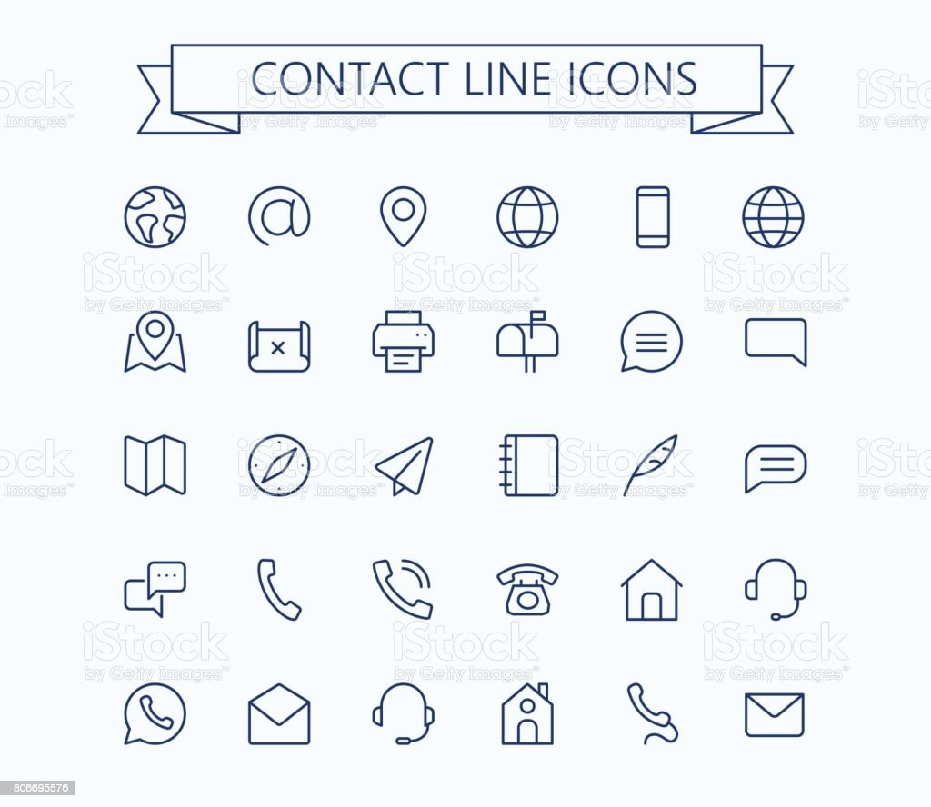 Contact line mini icons. 24x24 grid. Pixel Perfect. vector art illustration