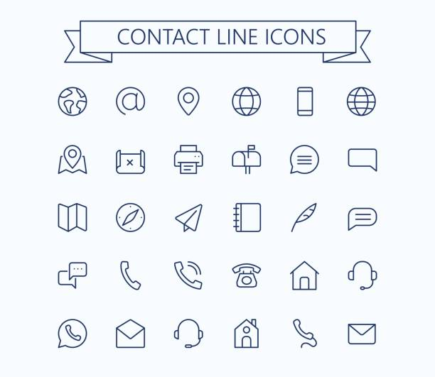 contact line mini icons. 24x24 grid. pixel perfect. - email icon stock illustrations, clip art, cartoons, & icons