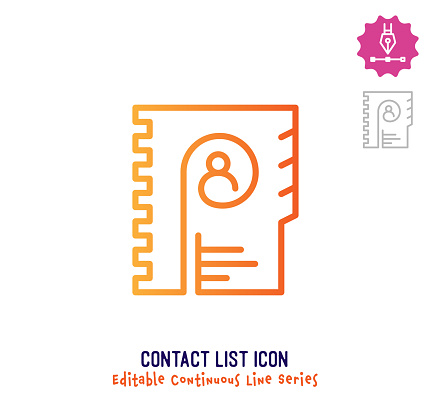 Contact List Continuous Line Editable Icon
