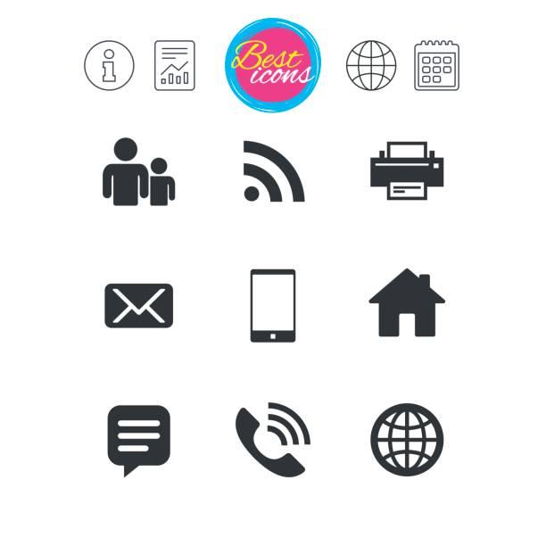 Icônes de Contact et de messagerie. Signes de Communication. - Illustration vectorielle