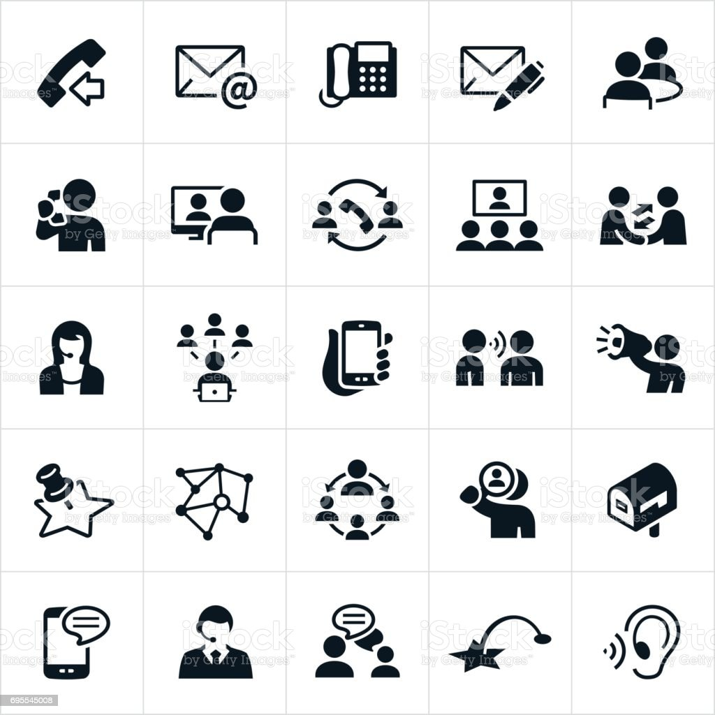 Contact Methods Icons vector art illustration
