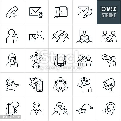 A set of contact icons that include editable strokes or outlines using the EPS vector file. The icons include a telephone, email, letter, person talking on mobile phone, person chatting with another person on computer, video conference, customer support representative, social media, word of mouth, person using a bullhorn and other related icons.