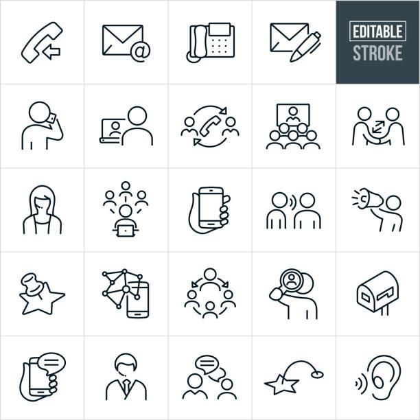 illustrazioni stock, clip art, cartoni animati e icone di tendenza di metodi di contatto icone linea sottile - tratto modificabile - ear talking
