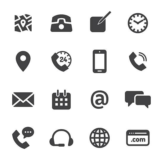 Contact Monochrome Icons Contact Monochrome Icons full stock illustrations
