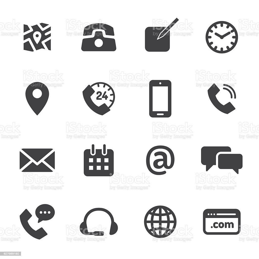 Contact Monochrome Icons - ilustración de arte vectorial