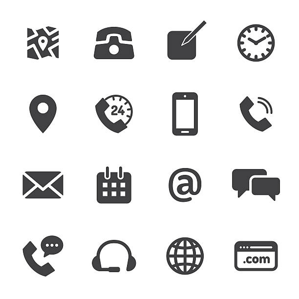 Contact Monochrome Icons vector art illustration