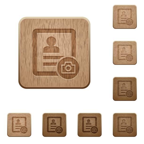 illustrations, cliparts, dessins animés et icônes de profil de contact photo boutons en bois - camera sculpture