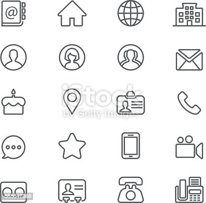 Contact Social Media Computer Network Mobile Phone Line icons