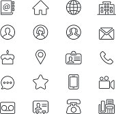 Contact Social Media  Mobile Phone Line icons | EPS10