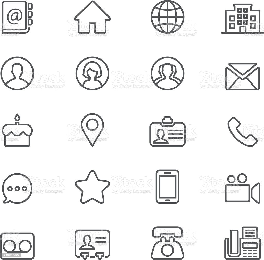Contact Social Media  Mobile Phone Line icons | EPS10 vector art illustration