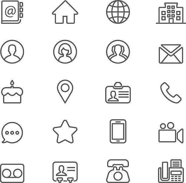 ilustrações de stock, clip art, desenhos animados e ícones de contact social media  mobile phone line icons   eps10 - video