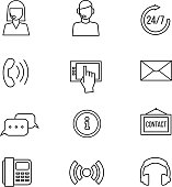 Contact, support vector line icons