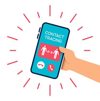 Pandemic coronavirus COVID-19 contact tracing phone call.