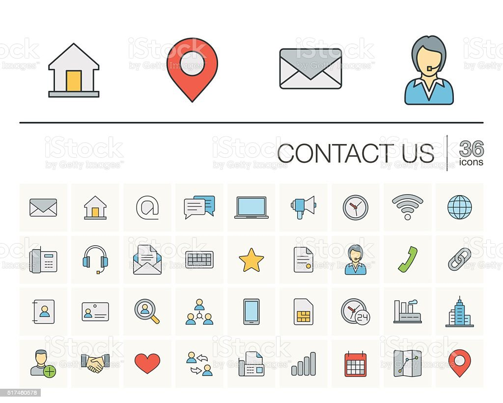 Contact us and Communication color vector icons vector art illustration