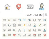 Contact us and Communication color vector icons