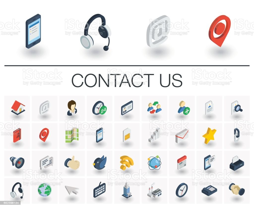 Contact us and Communication isometric icons. 3d vector vector art illustration