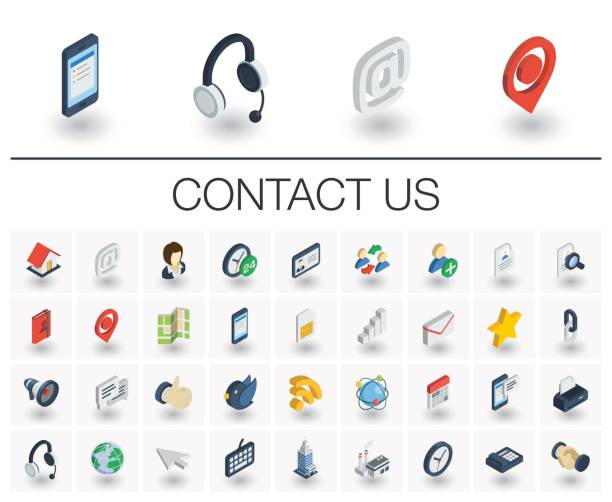 Contact us and Communication isometric icons. 3d vector Isometric flat icon set. 3d vector colorful illustration with contact us symbols. Communication, home, call, speech bubble, email, letter, envelope, handshake colorful pictogram Isolated on white email signs stock illustrations
