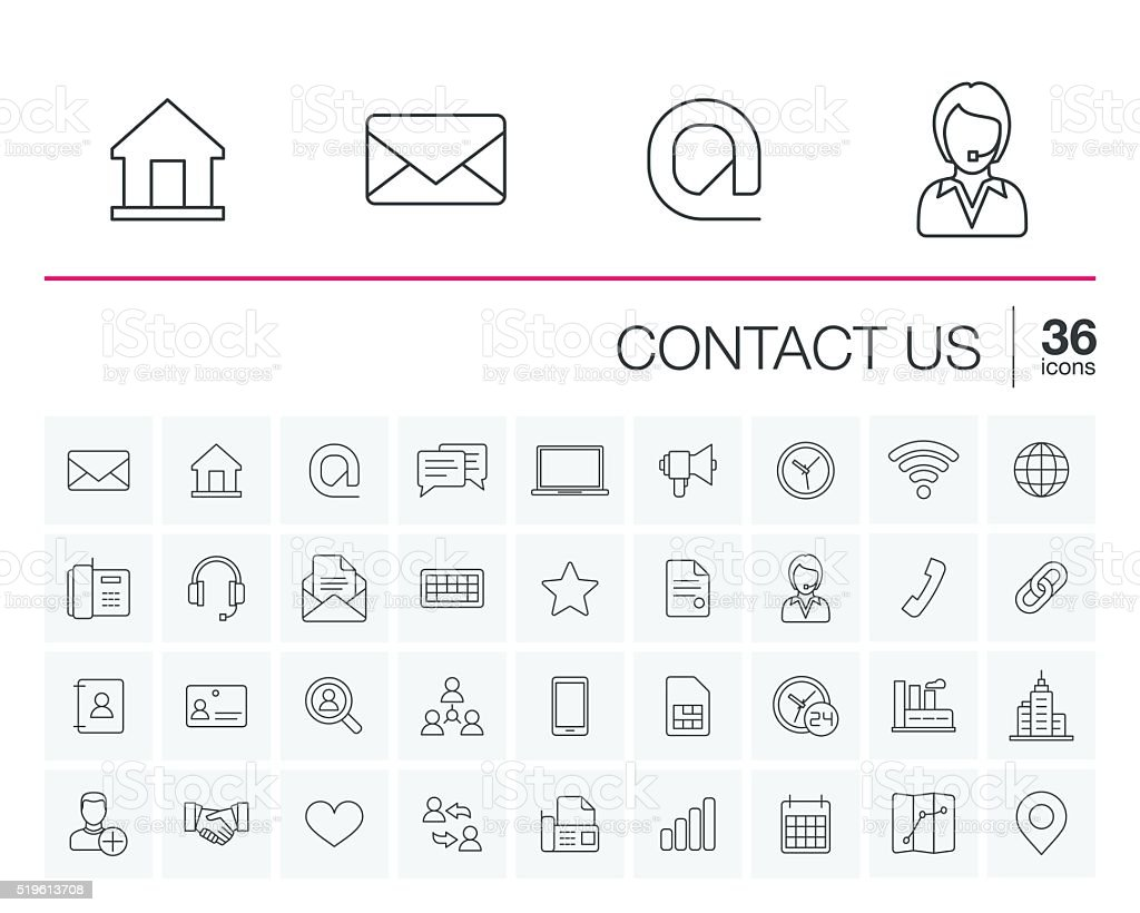 Contact us and Communication vector icons vector art illustration