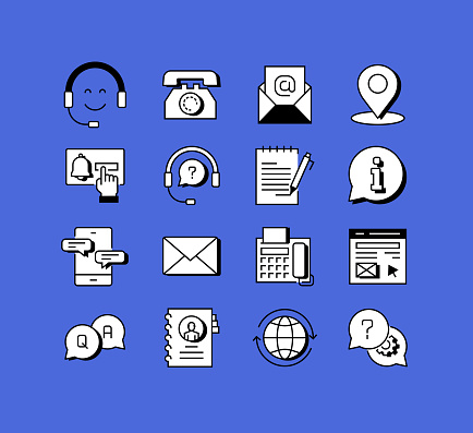 Contact Us and Support Related Icons Vector Collection. Modern Style Symbol Vector Illustration