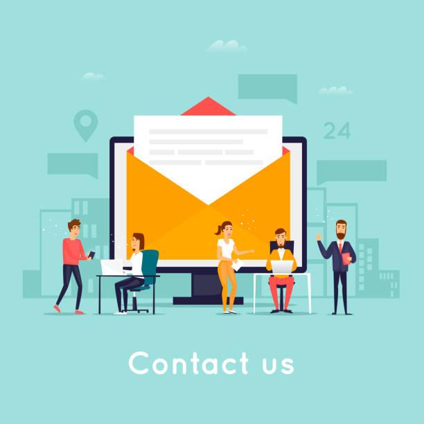 Kontaktieren Sie uns. Business-Leute. Flaches Design-Vektor-Illustration. – Vektorgrafik