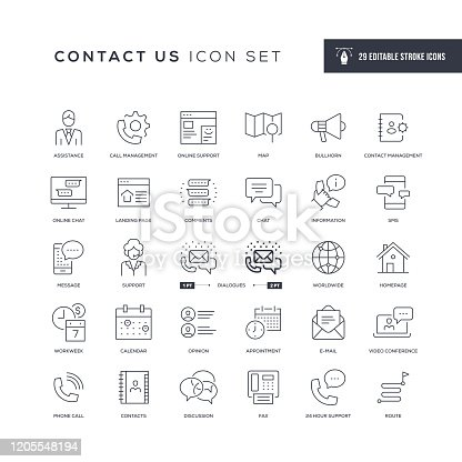 29 Contact Us Icons - Editable Stroke - Easy to edit and customize - You can easily customize the stroke with