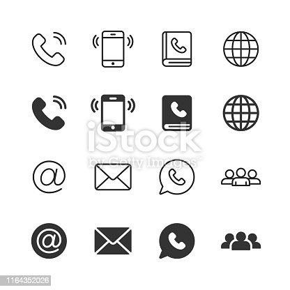16 Contact Us Glyph and Line Icons.