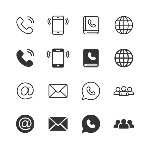 Contact Us Glyph and Line Icons. Editable Stroke. Pixel Perfect. For Mobile and Web. Contains such icons as Phone, Smartphone, Globe, E-mail, Support. vector art illustration