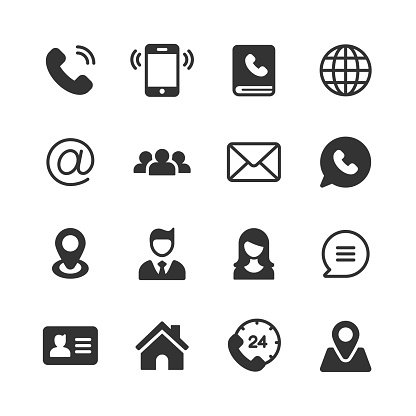 Contact Us Glyph Icons. Pixel Perfect. For Mobile and Web. Contains such icons as Telephone, Support, Location, Home, Business Card.