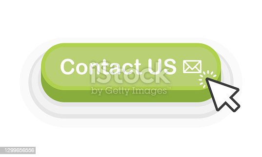 istock Contact US green 3D button in flat style isolated on white background. Vector illustration. 1299656556