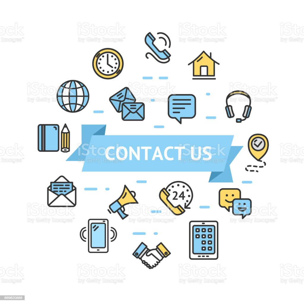 Contact Us Icon Round Design Template Thin Line Concept. Vector vector art illustration
