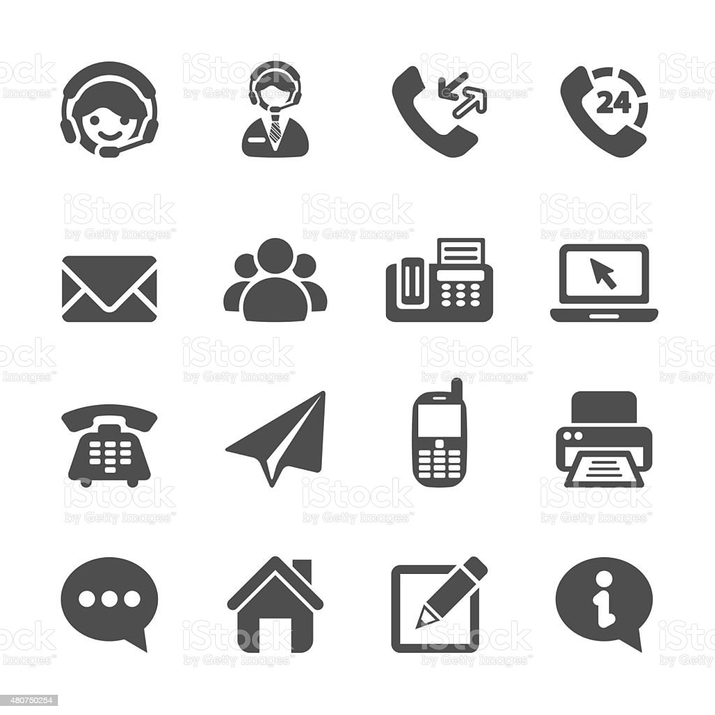 contact us icon set, vector eps10 vector art illustration