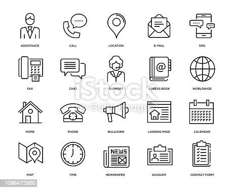 Contact Us Icon Set - Thin Line Series