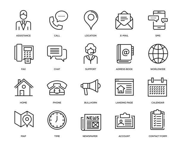 ilustrações, clipart, desenhos animados e ícones de contacte-no conjunto de ícones - user line icon