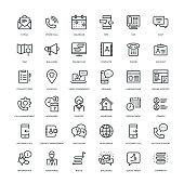 Contact Us Icon Set - Line Series