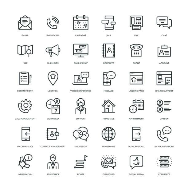 contact us icon set - strona startowa stock illustrations