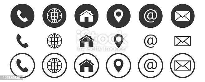 istock contact us icon, web, blog and social media round icons 1218356381