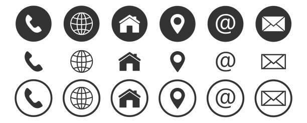 ilustrações, clipart, desenhos animados e ícones de entre em contato conosco ícones, web, blog e mídias sociais - edifício residencial