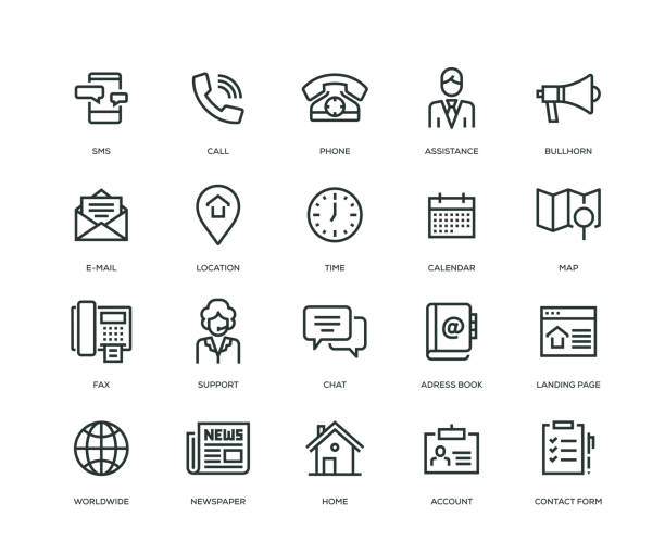 contact us icons - line series - dotykać stock illustrations