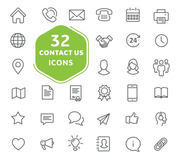 contact us icons. - оттиск stock illustrations