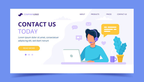 contact us landing page. man with headphones and microphone with computer. concept illustration for support, assistance, call center. vector illustration in flat style - call center stock illustrations