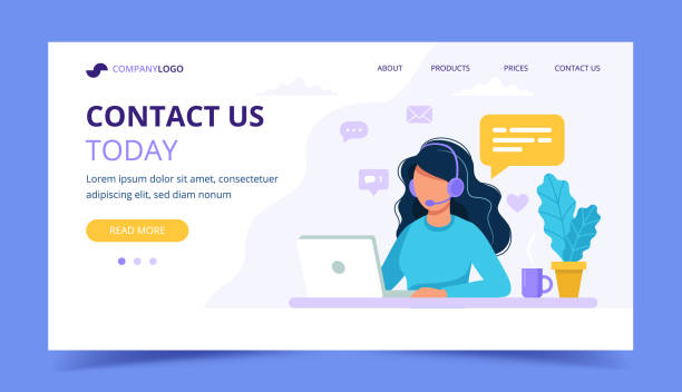 contact us landing page. woman with headphones and microphone with computer. concept illustration for support, assistance, call center. vector illustration in flat style - помощь stock illustrations